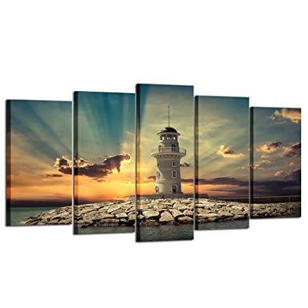 Kreative Arts – Large 5 Pieces Canvas Prints Wall Art Beautiful Landscape Lighthouse at Sunset Pictures Modern Home Decor Stretched Gallery Wrap Giclee Print Ready to Hang Large Size 60x32inch