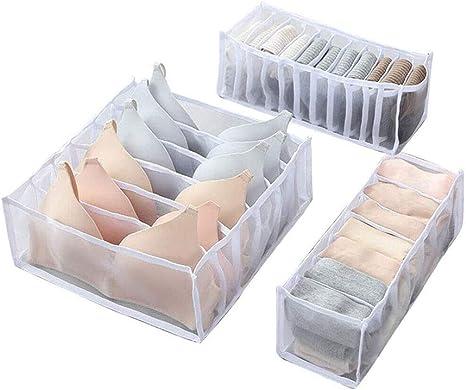 Foldable Drawer Organizer Divider Closet Storage Box For Underwear Bra Socks 27
