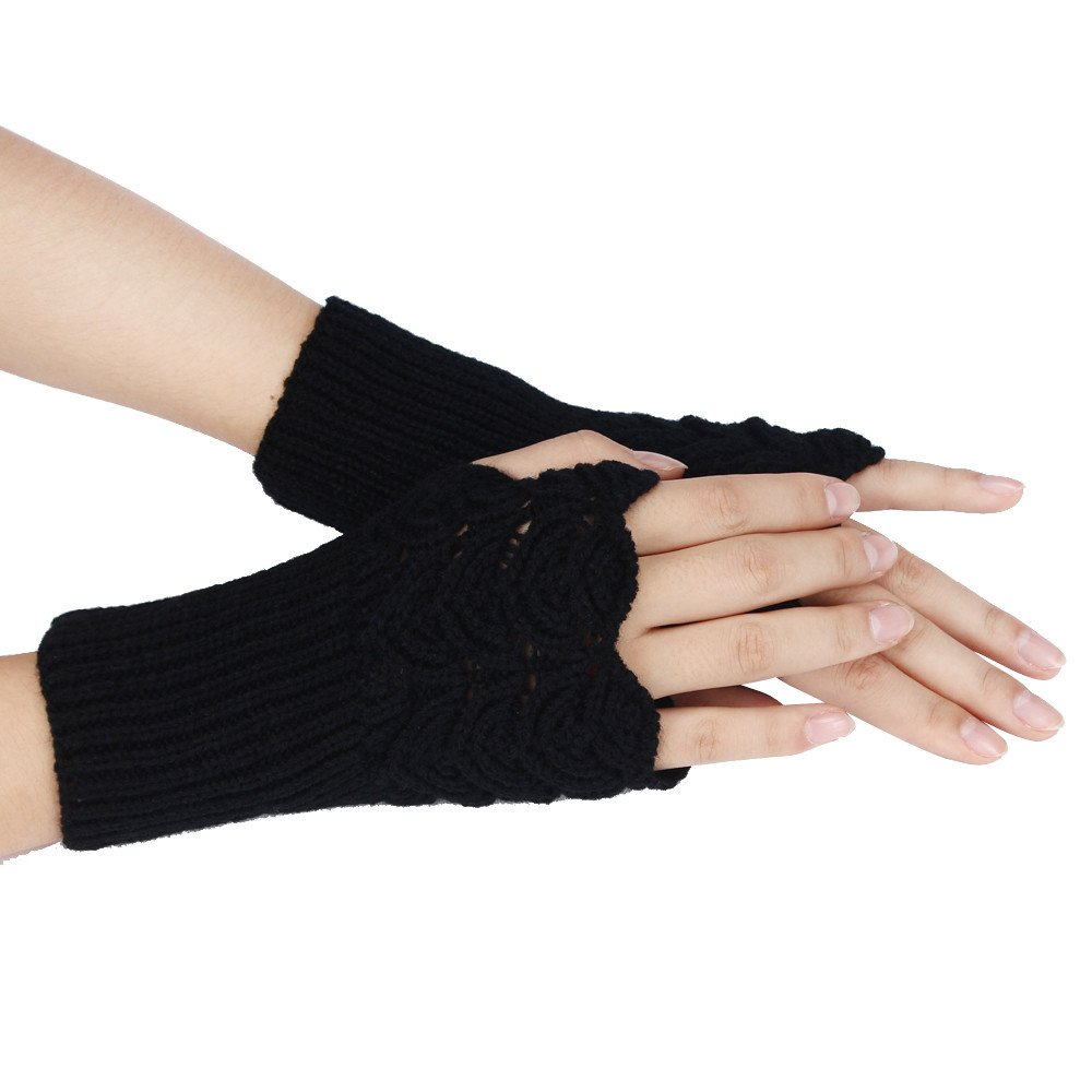 Maonet Clearance Women's Warm Winter Brief Paragraph Knitting Half Fingerless Gloves (Black)