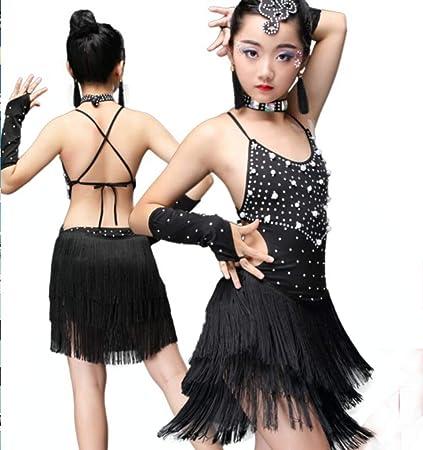 ZHANGQIAN Traje de Baile para niños Baile Latino con ...