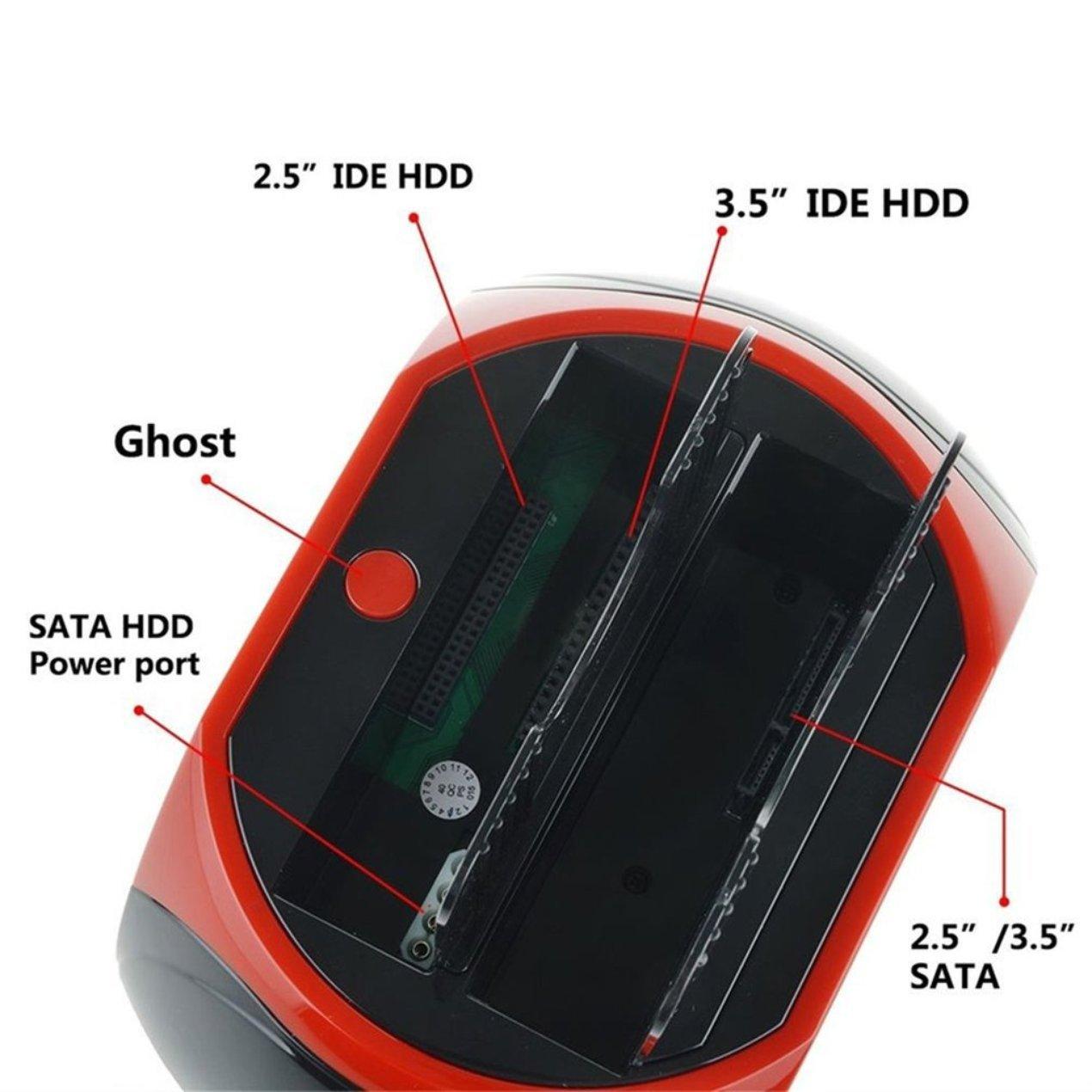 USB 2.0 a 2.5 3.5 pulgadas SATA IDE Ranura dual Estación de ...