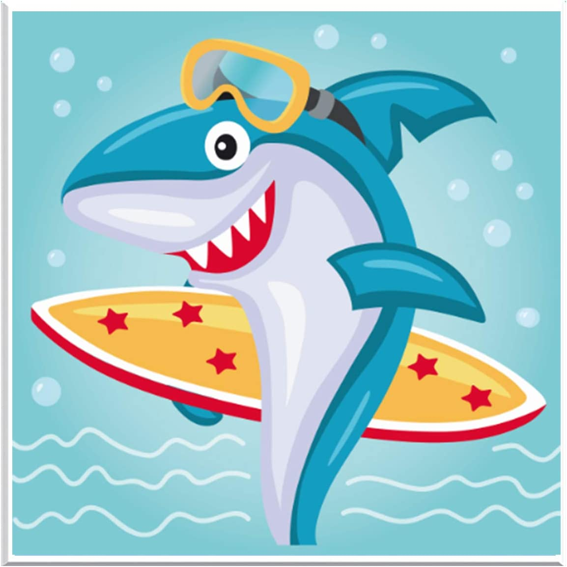 Maydear Small and Easy DIY 5d Diamond Painting Kits with Frame for Beginner with White Frame for Kids (Rowing Shark)