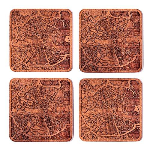 Stockholm Map Coaster by O3 Design Studio, Set Of