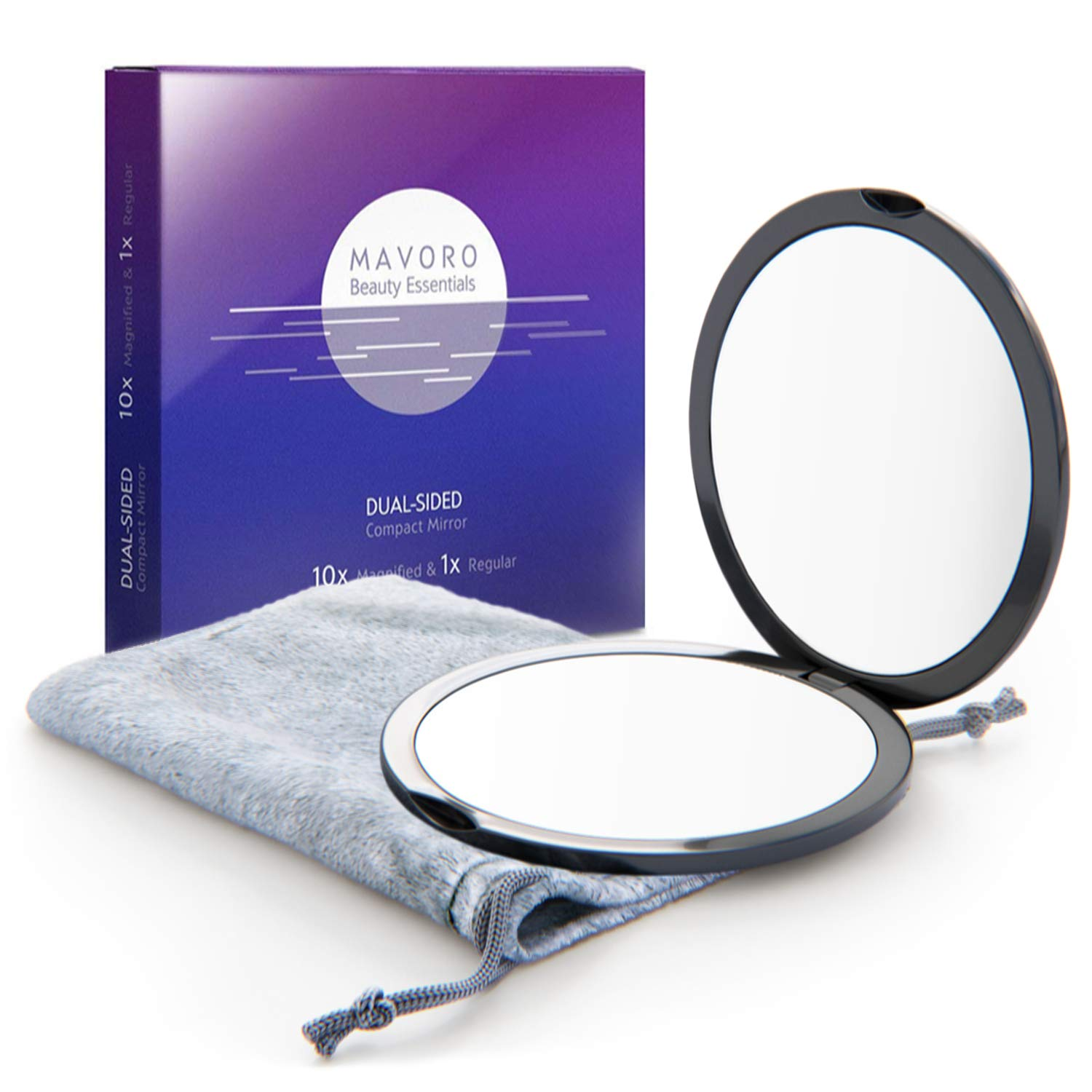 Magnifying Compact Mirror for Purses with 10X Magnification – Black Double Sided Travel Makeup Mirror, 4 Inch Small Pocket Mirror, or Purse Mirror. Distortion Free Folding Portable Compact Mirrors