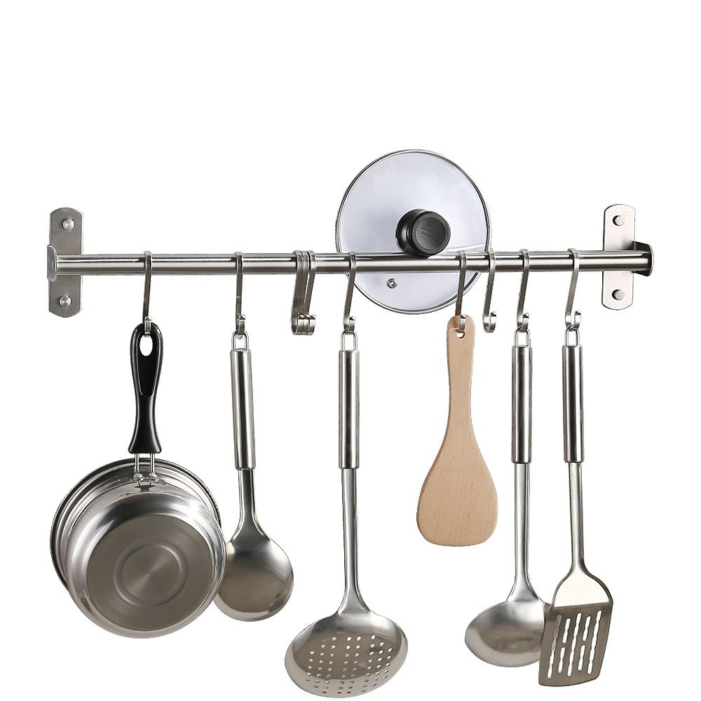 KES Kitchen Tool and Utensil Rack with 10 Hooks Multipurpose 22-Inch Wall Mounted, Brushed SUS304 Stainless Steel, KUR209S55-2 by Kes