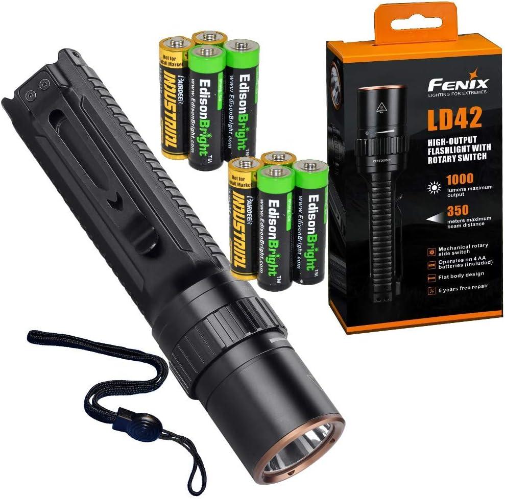 B00WHGJP9C Fenix LD42 AA Battery Powered 1000 Lumen Rotary Controller LED Flashlight w/Four X EdisonBright AA Batteries Bundle 61D1MTCVcNL.SL1000_