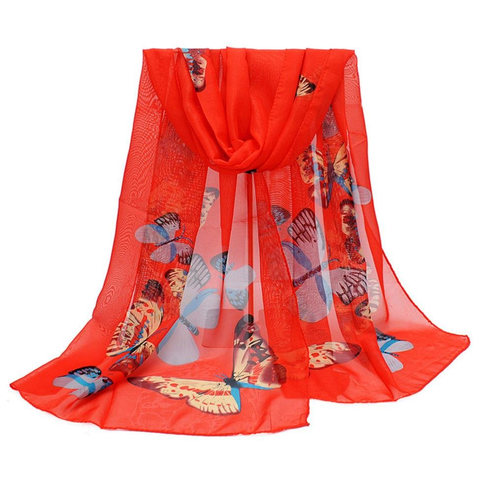 Clearance Sale! New Fashion Scarf Lady Butterfly Print Neck Shawl Scarve Warm Wrap Stole (Red)