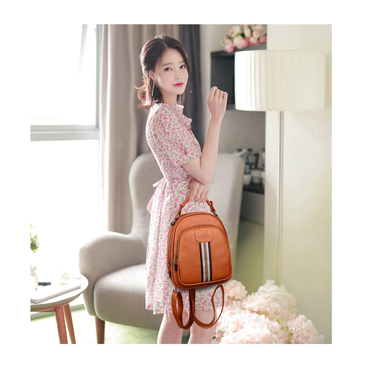 Color : Brown, Size : 22cm26cm10cm PU Leather Black//Brown//red Fashion Mini. Haoyushangmao Girls Multi-Purpose Backpack for Everyday Travel//Outdoor//Travel//School//Work//Fashion//Leisure
