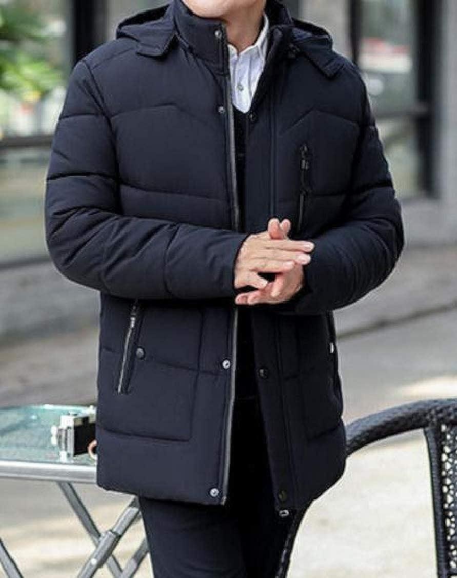 DressUMen Winter Detachable Hood Plus Velvet Zip-up Fit Warm Pea Coat Jacket