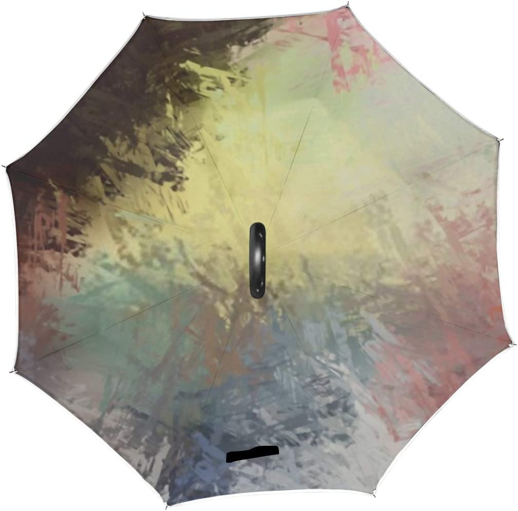 Double Layer Inverted Inverted Umbrella Is Light And Sturdy Artistic Abstract Background Texture Painted Wallpaper Reverse Umbrella And Windproof Umb