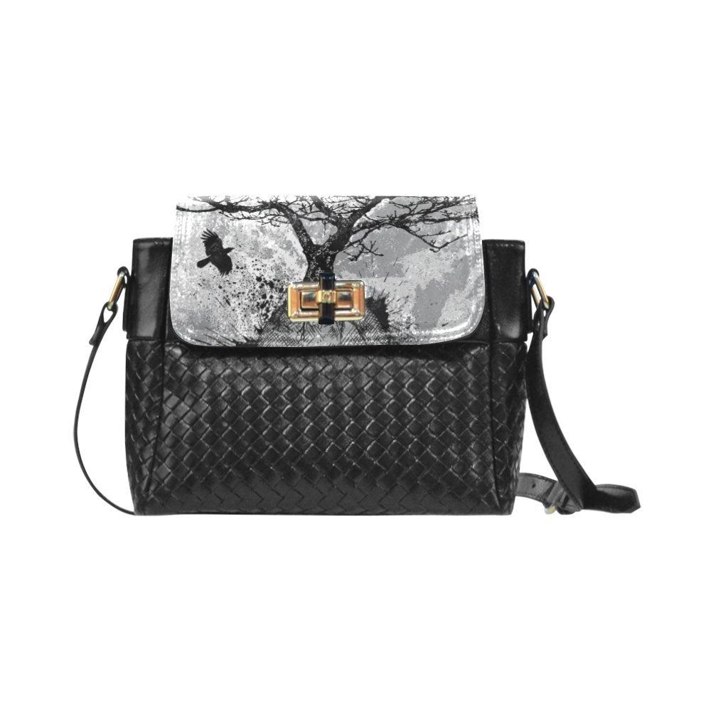 Fashion Women And Girls Skull Tree Black Eagle Woven Leather Crossbody Bag/Shoulder Bag/Tote Bag For Women Girls CR-54
