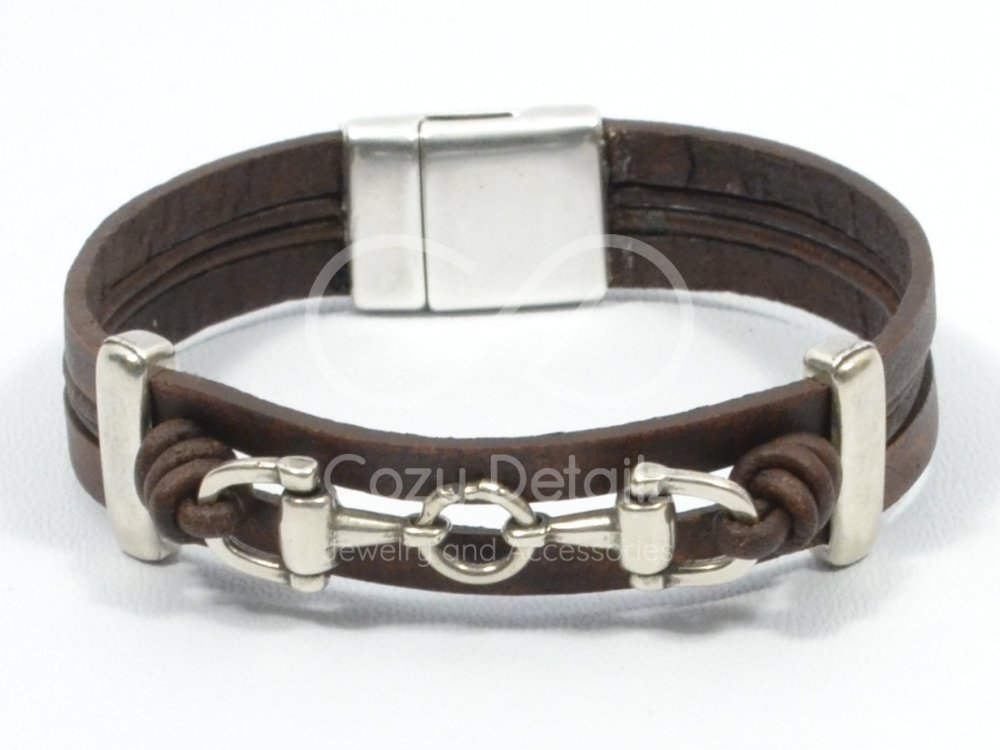 snaffle bit bracelet, men rustic brown leather bracelet, horse jewelry, country western jewelry, men equestrian jewelry, bit bracelet, FREE SHIPPING