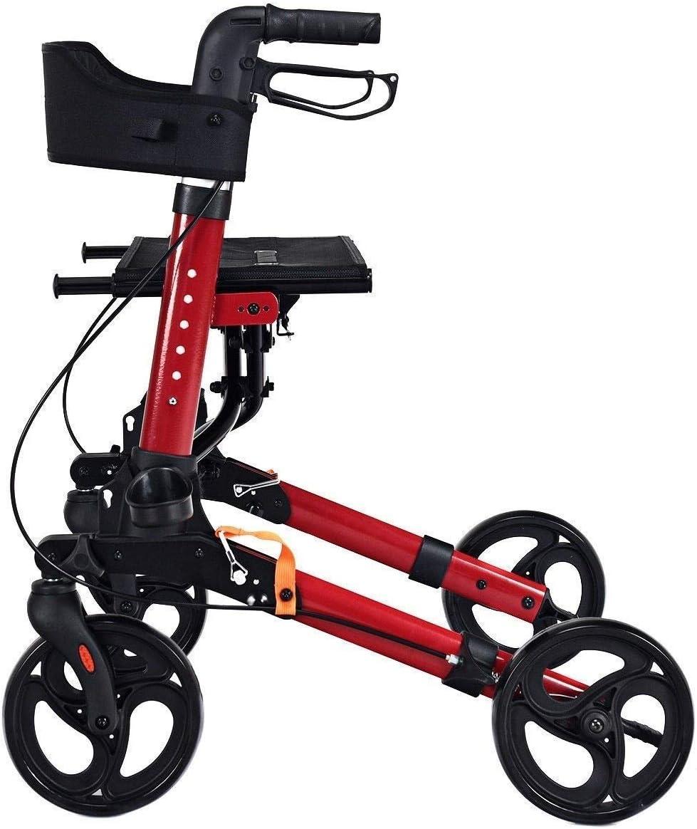 Walker, Rollator Premium con Ruedas Andador con Ruedas de 4 Ruedas con Asiento, Respaldo y Bolsa Aluminio Plegable