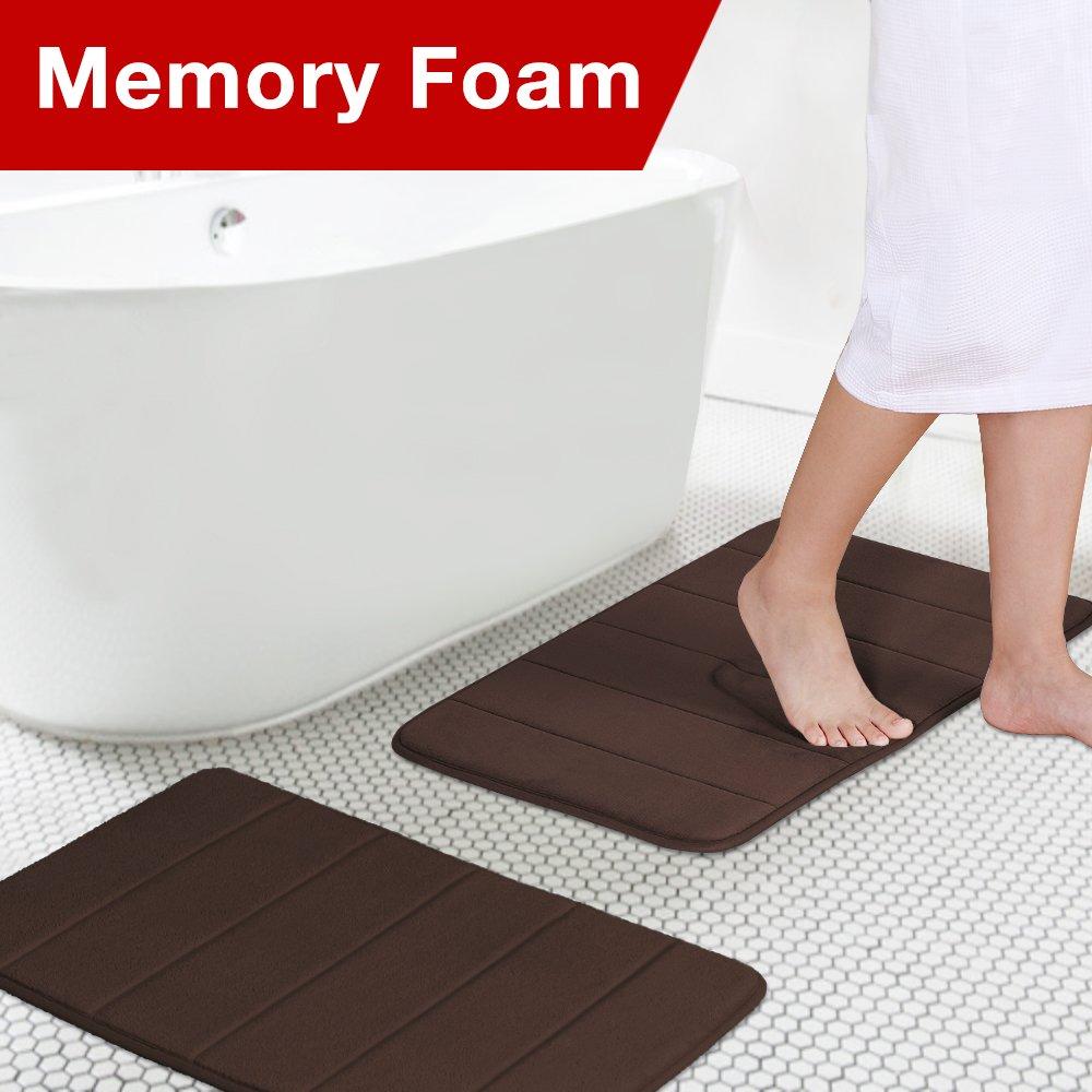 Soft Non Slip Absorbent Bath Rugs, Memory Foam Two Pieces Bath Mats by FlamingoP (Brown Striped Pattern, Size:W17 xL24)