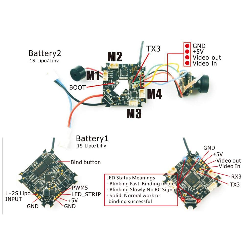 Flight Controller - for RC Drone Quadcopter Mobula7 5A 1-2S Compatible with Flysky/Frsky/DSMX Receiver for Crazybee F3 by Blueyouth (Image #3)
