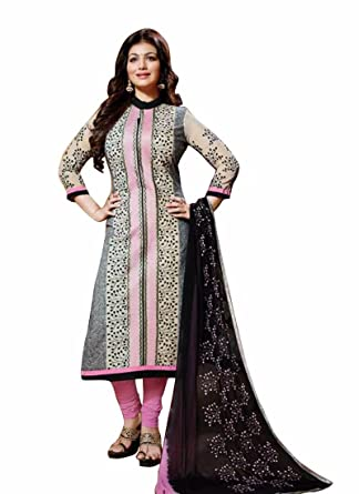 3e9309fbb6 New Ayesha Takia Cotton Pink & Black Color Salwar Suit: Amazon.in: Clothing  & Accessories