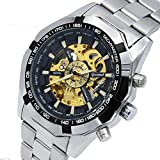 Stainless Steel Luxury Brand Black Skeleton Automatic Mechanical Watch Business Dress