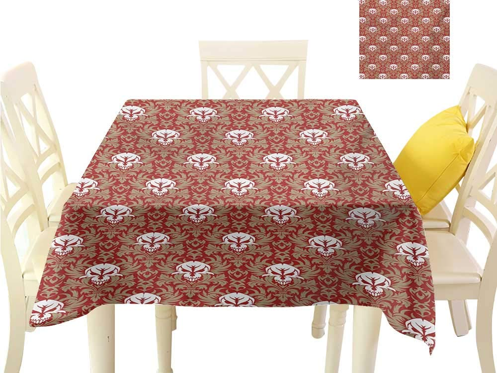 """familytaste Fabric Covering Gothic,Baroque Pattern with Floral Curves Old Fashioned Antique Design Skull Motifs,Ruby Cocoa White Table Cloth for Square Tables W 60"""" x L 60"""""""