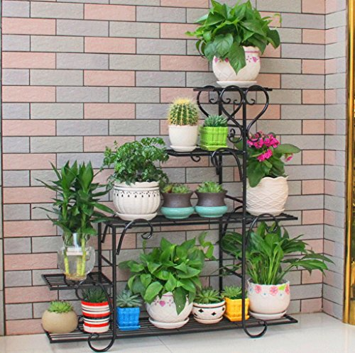 DGF Iron Art Flower Rack, European-style Indoor And Outdoor Flower Pot Rack, Living Room Balcony Plant Display Stand,black,White (three Sizes Optional) ( Color : Black , Size : L88cmW25cmH95cm ) by Great St.