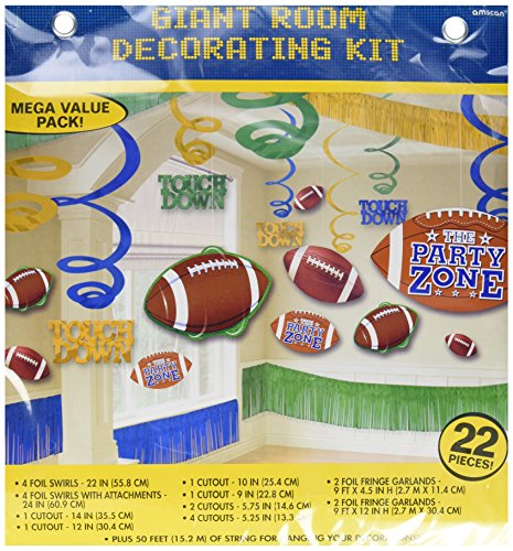- Amscan Football Giant Birthday Party Assorted Room Decorating Kit (22 Piece), Multi Color, 14.5 x 13.6
