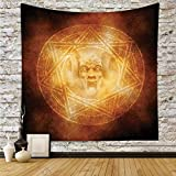 iPrint Polyester Tapestry Wall Hanging,Horror House Decor,Demon Trap Symbol Logo Ceremony Creepy Ritual Fantasy Paranormal Design,Orange,Wall Decor for Bedroom Living Room Dorm