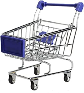 MagicW Mini Shopping Cart Supermarket Handcart Shopping Desktop Utility Cart Mode Storage Pen Cup Holder Desk Accessory Decoration Ornament Toys Blue