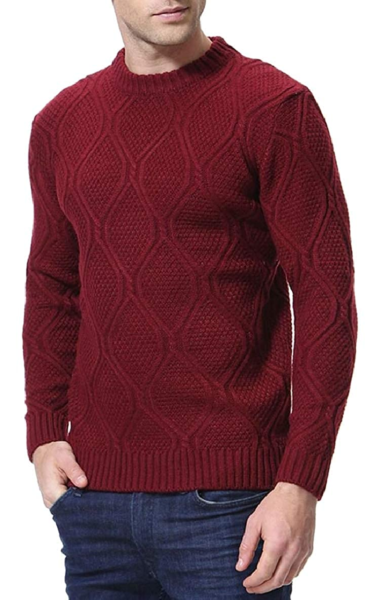 Tymhgt Mens Casual Cable Solid Round Neck Slim Knit Sweater Pullover