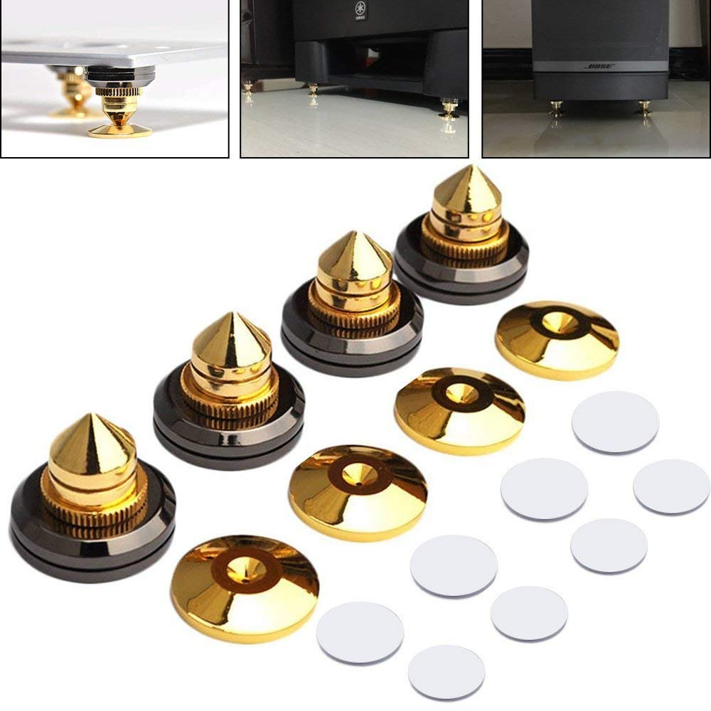 LAMPTOP 4 PCS Golden-Plated Speaker Spikes, Speaker Stands CD Audio Subwoofer Amplifier Turntable Isolation Feet Solid Brass Cone Isolator Brass Base Pads Shockproof Mats with Double-Sided Adhesive by LAMPTOP