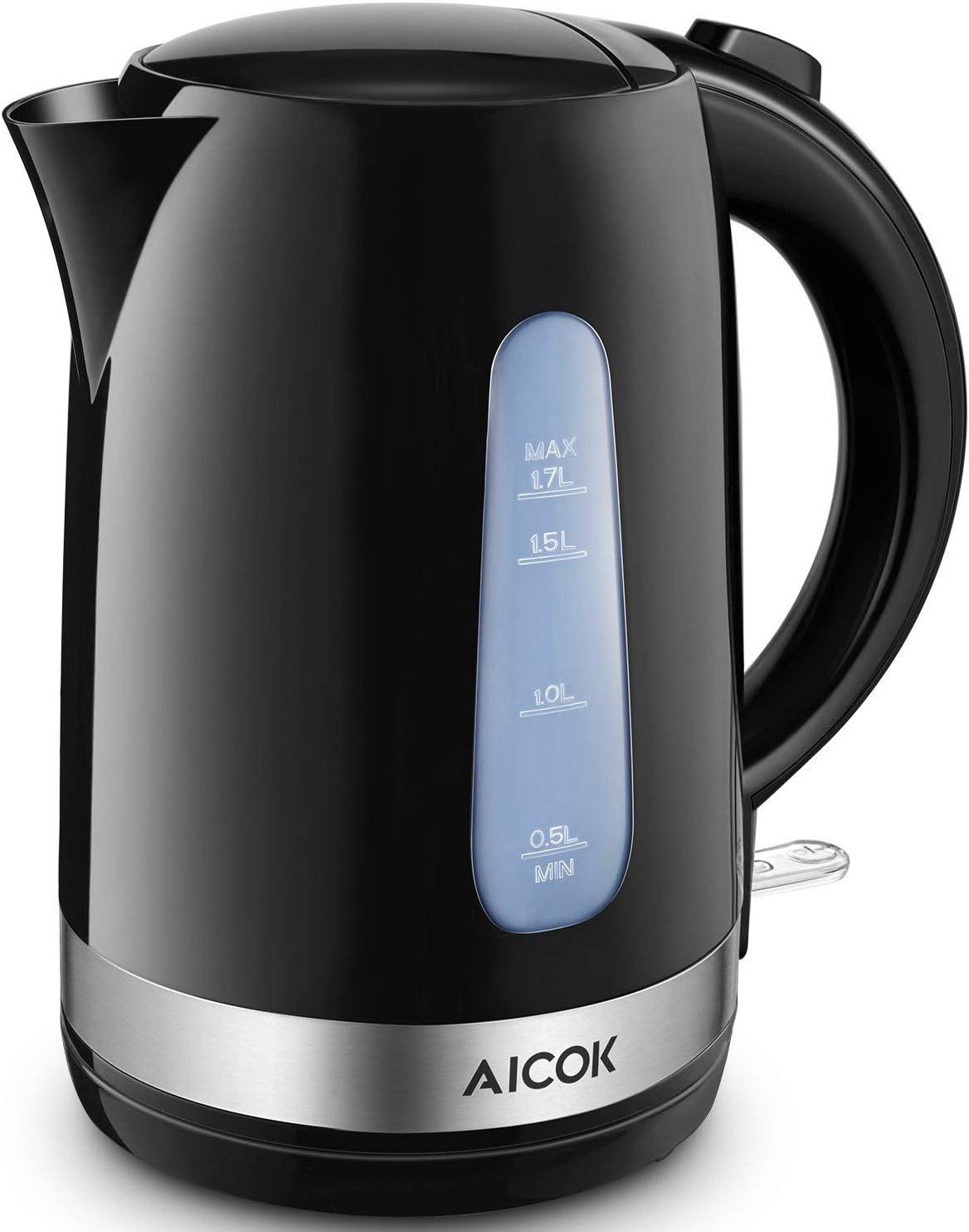 Bollitore Elettrico Regolabile 50-100/°C Spegnimento Automatico Bollitore Latte Inox e Nero Senza BPA Indicatore del Livello dAcqua Bollitore Acqua Twinzee 1,7L Senza Filo
