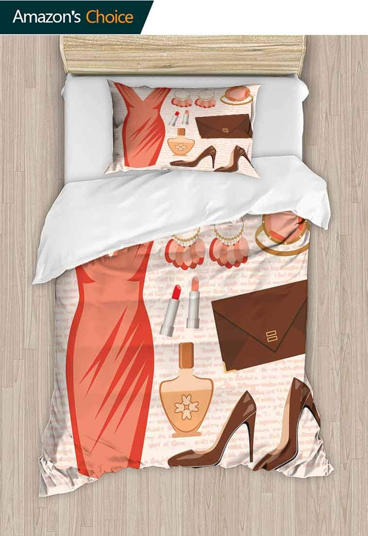 Heels and Dresses DIY Quilt Cover and Pillowcase Set, Accessories Fashion Cocktail Dress Lipstick Earrings High Heels, Reversible Coverlet, Bedspread, Gifts for Girls Women, 71 W x 79 L Inches