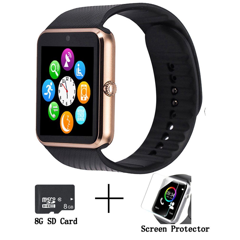 GT08 Bluetooth Smart Watch for Android phones, Beaulyn Smart Watch with SIM Card Slot,Call,Massage,For IOS iphone and Android phones Samsung ZTE Sony LG Smartphones, Sweatproof(gold-black)