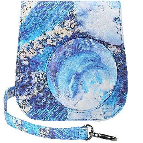 Katia Camera Case Bag Compatible for Fujifilm Instax Mini 9/ Mini 8+/ Mini 8 Instant Film Camera with Shoulder Strap and Photo Accessories Pocket - Dolphin ()