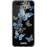 LUXMO PREMIUM Phone Case for iPhone 8 Plus and iPhone 7 Plus, Crystal Clear Duplex Plating Slim Fit Protective Cellphone Case, Fashion Blue Butterfly Laser Painting Shock Proof Case with TPU Bumper