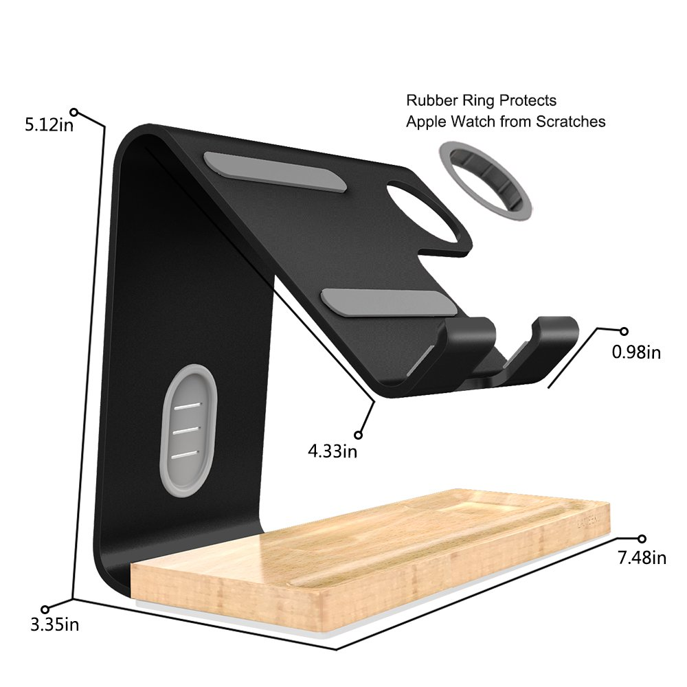 LAMEEKU Compatible Cell Phone Stand Replacement for Apple Watch Stand, Desktop Cell Phone Stand For all Android Smartphone, iPhone X 6 6s 7 8 Plus, Samsung, Apple Watch 38mm 42mm, iPad Airpods - Black by LAMEEKU (Image #6)