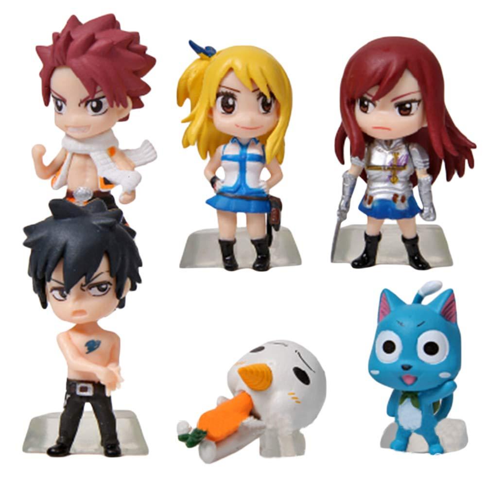 Color : A01, Size : 3-6cm FAIRY TAIL jouet Figurines jouets 6pcs d/écoration figurines miniatures