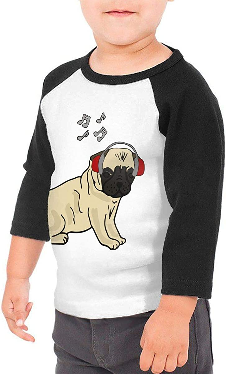 QPKMRTZTX0 Boys Girls Kids /& Toddler Pug Dog Music Long Sleeve T-Shirt 100/% Cotton