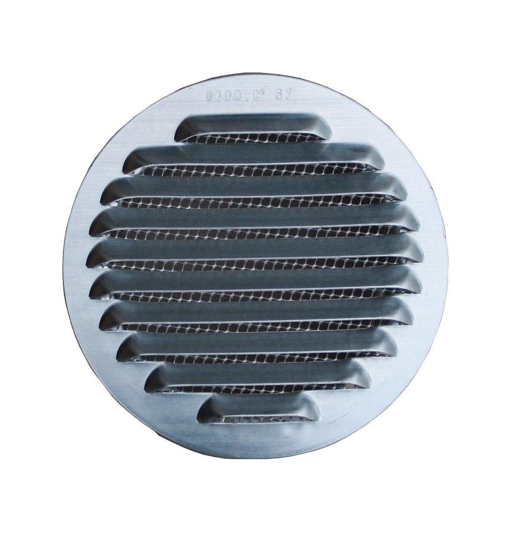L/üftungsgitter Aluminium Natur mit Stutzen DN 95-100 mm
