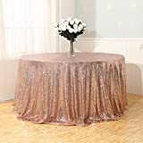 3e Home Rose Gold Sequin TableCloth for Wedding Party Bridal Shower Tree Skirt, Round 120''