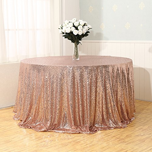 3E Home Rose Gold Sequin TableCloth for Wedding Party Bridal Shower Tree Skirt, Round 72