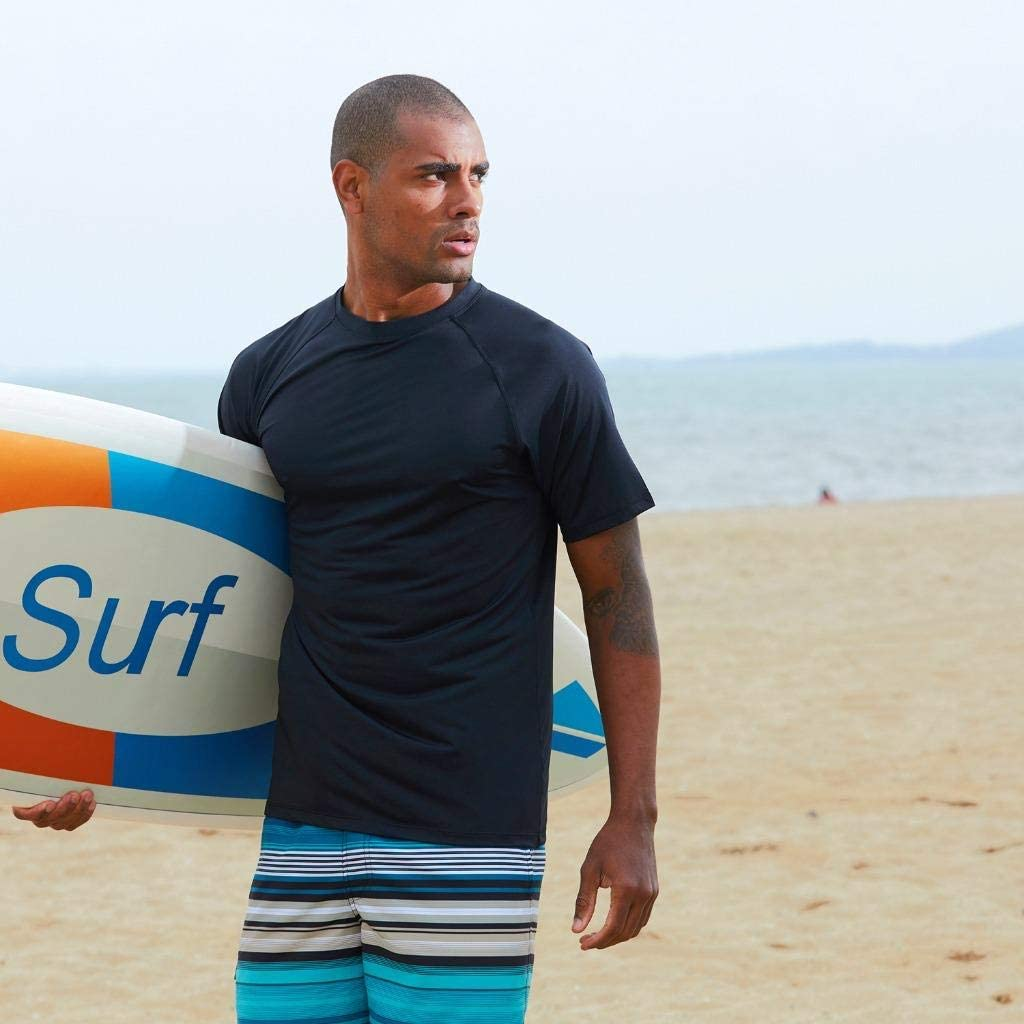 Arcweg Rashguard Herren Kurzarm Shirt UV Schutz T-Shirt Elastisch Schnelltrocknend Sun Shirt UPF 50 Tops Funktionsshirt Fitness Shirt Rash Vest zum Surf Laufen Angeln Wandern M-3XL