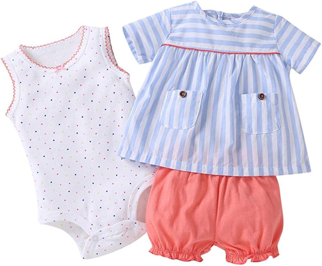 Moonker 3pcs Infant Baby Girls Summer Striped Printing Tops+Pants+Dot Print Romper Outfits Clothes Set 0-2T
