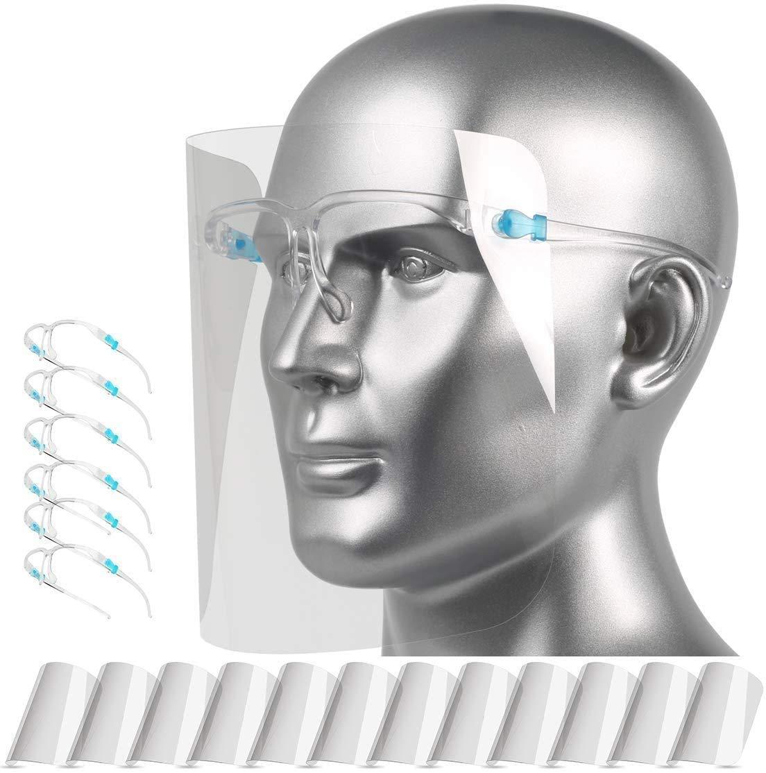 Pantalla Protección Facial Transparente para Adultos y Estudiantes, Visera Protectora Face_Shield_Visor(con 12 viseras reemplazables y 6 monturas de gafas reutilizables),Transparente