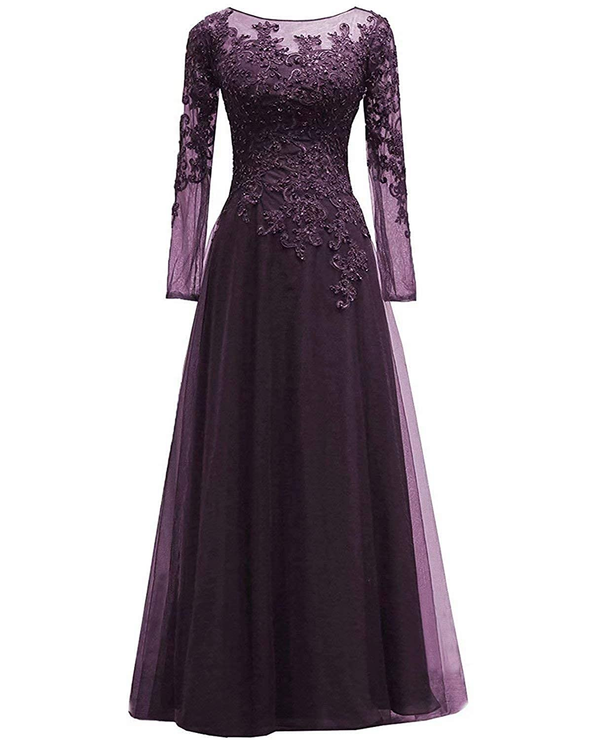80s Dresses | Casual to Party Dresses Womens Lace Appliques Mother of The Bride Dress Tulle Long Sleeves Evening Prom Gown Beaded $89.99 AT vintagedancer.com