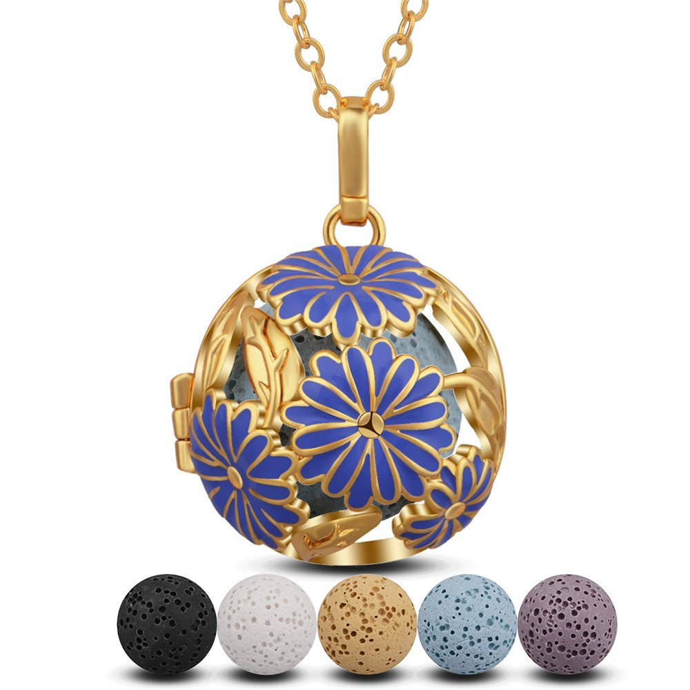 INFUSEU Daisy Aromatherapy Essential Oil Diffuser Necklace Big Blue Flower Locket Pendant + 5PCS Lava Stone Rock Beads + 30 Chain Silver Plated Women Girl Perfume Exaggeration Jewelry K143N18-HF5PC-18mm-LT34-30