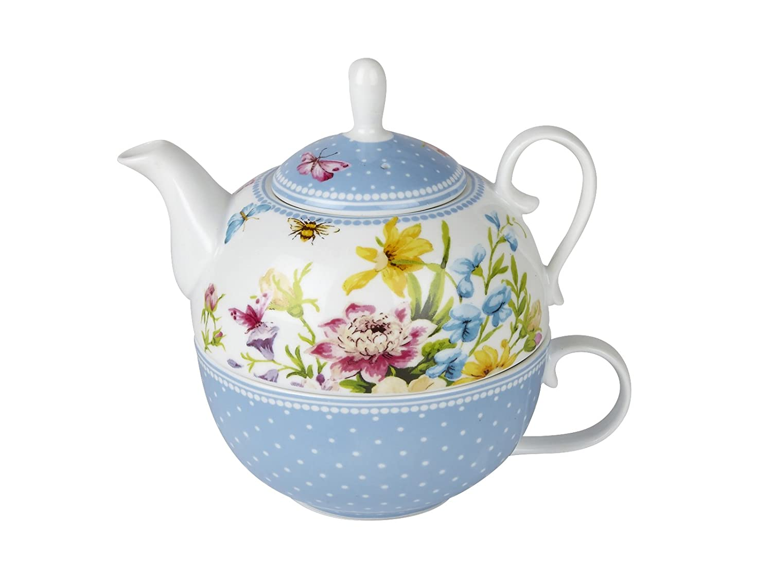 Katie Alice Ditsy Floral Ceramic Tea for One Teapot and Cup - Teapot Capacity: 450 ml (15 fl oz), Cup Capacity: 280 ml (9 fl oz) 5202103