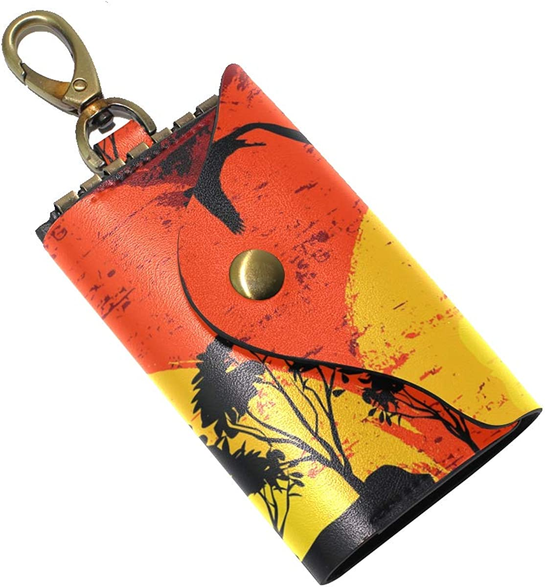 KEAKIA Sunset In Wild Africa Leather Key Case Wallets Tri-fold Key Holder Keychains with 6 Hooks 2 Slot Snap Closure for Men Women