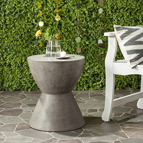 Safavieh Outdoor Collection Athena Modern Concrete Dark Grey Round 17.7-inch Accent Table (Side Outdoor Table Concrete)
