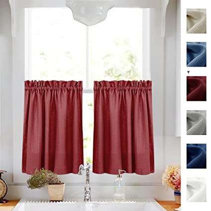 Tier Curtains For Kitchen 24 Inch Small Privacy Semi Sheer Casual Weave Textured Half Window