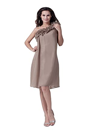 Angel Formal Dresses Womens One Shoulder Knee Length Chiffon Evening Party Dress - Brown -