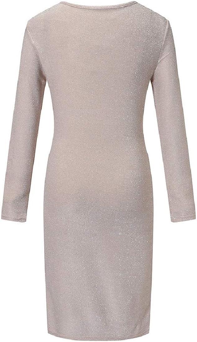Bkolouuoe Women Sequin Long Sleeve Maxi Dress Crew Neck Cocktail Party Evening Prom Bodycon Dresses Clubwear